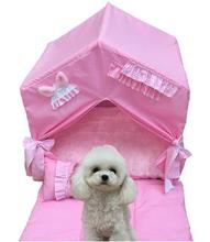Korean pet dog bed portable house foldable lace princess washable  Pet supplies new fashion