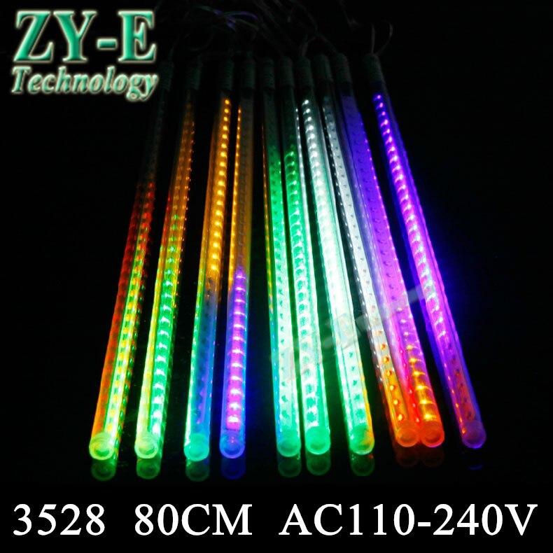 10 pièces/ensemble SMD3528 78 leds/tube chute de neige Tube 50 cm météore lumière pluie lampe Led Tube lumière + adaptateur secteur AC110-240V livraison gratuite