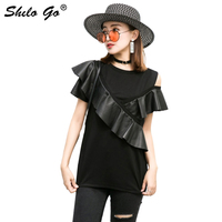 Ruffles Leather Blouses Women Summer Sexy Cross Spliced Sheepskin Genuine Leather Shirts Strapless Shoulder Female Top Shirts