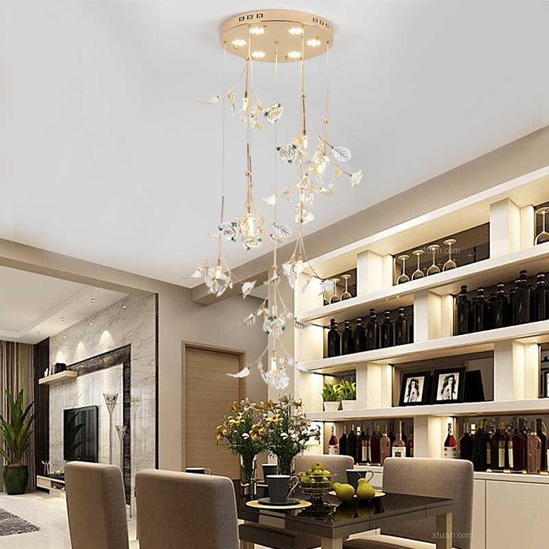 Nordic Style Crystal Pendant Lights personality of modern minimalist dining room bedroom hanging lighting ceramic Pendant Lights modern simple european style dining room lighting american hollow carved iron bedroom pendant lights