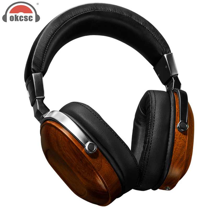 OKCSC M5 Dynamic New arrival Wood Big Earphone Headphone Supper Bass DIY can Change Cable