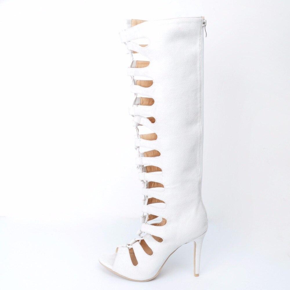 Plus Botas Verano rodilla Cremallera Real Blanco Imágenes Hueco Nuevo Mujeres Lace Tamaño De 2017 Zapatos Para 45 Mujer 34 Peep Toe wxvFqvT4