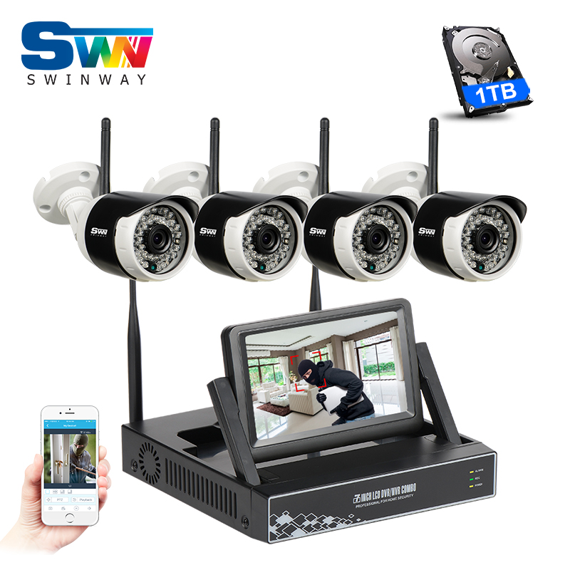 SW Plug&Play 7LCD Screen 4CH Wireless NVR CCTV Kit&960P HD Outdoor Video Surveillance Security WIFI IP Camera System+1TB HDD new listing plug and play 4ch wireless nvr kit 7 inch lcd screen 720p hd outdoor security wifi camera cctv system 1tb hdd