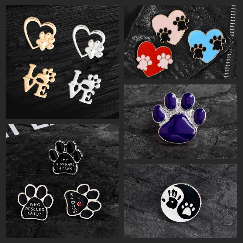 Paw Cetak Pin Kucing Anjing Jejak Kaki Bros Lencana Kartun Cinta Hati Enamel Ransel Pin untuk Teman Hewan Peliharaan Hadiah Perhiasan Grosir