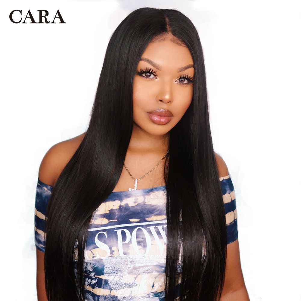 CARA Straight 360 Lace Frontal Wigs Natural Color Pre Plucked Natural Hairline Brazilian Remy Hair