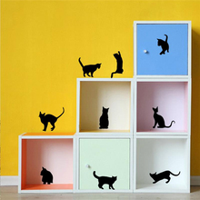9 /4 cute cats playing wall stickers kids room decorations 707. diy home decals vinyl art animals poster adesivos de paredes 4.5