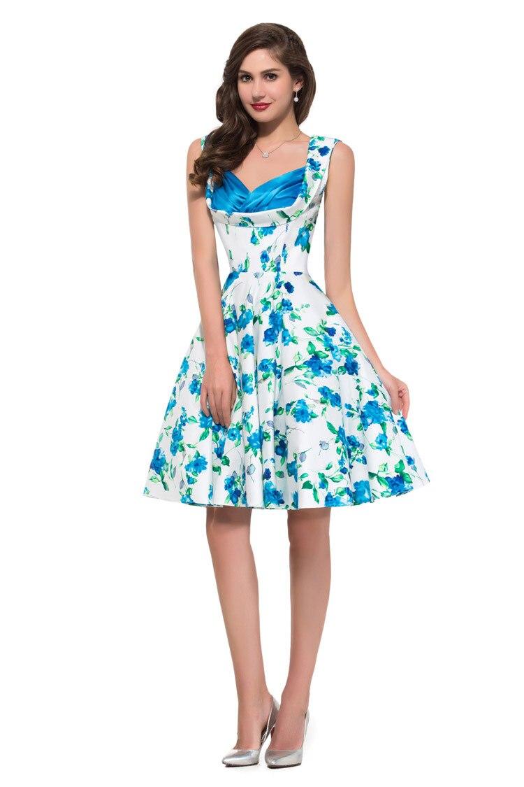 dc96479c708ce US $32.82 |Summer Style Cheap 1950s 1960s Flower Pattern Floral Print  Rockabilly Vintage Dresses Plus Size Cotton Summer Beach Dress 008901-in  Dresses ...