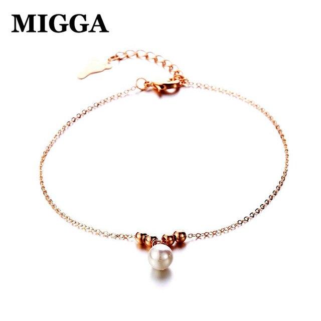 MIGGA Single Imitation Pearl Anklet Fashion Women Summer Ankle