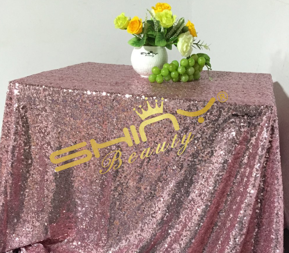 On Sale 50x50 Pink Gold Sequin Table Clot Wholesale Table Linens Sparkly Pink Gold Table Sequin Linens For Your Events Decor