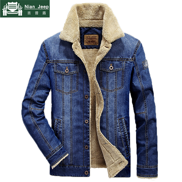 Plus Size M-6XL Fashion Denim Jacket Men Winter Wool Liner Warm Mens Jackets Brand Outwear Jeans Coats Male Cowboy Clothing