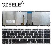GZEELE nowa amerykańska klawiatura dla Lenovo IdeaPad 500 15ACZ 500 15ISK amerykańska podświetlana klawiatura srebrna