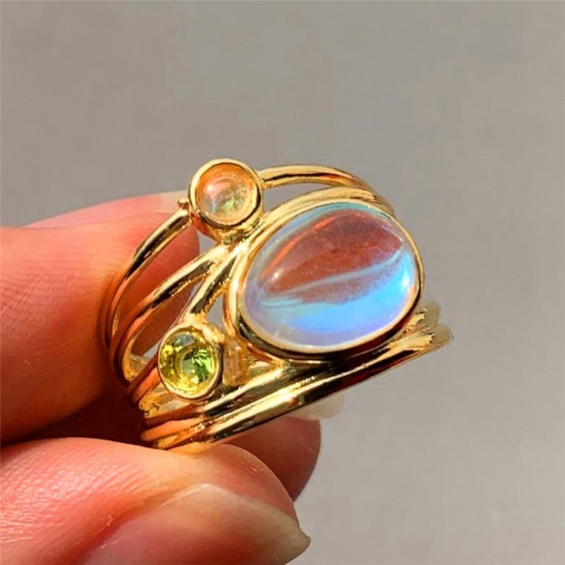 Boho Female Big Crystal Oval Moonstone Ring Fashion Yellow ...