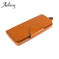 Aelicy High Quality genuine leather zip wallet women long ladies coin purse for Women leather women wallet female purse