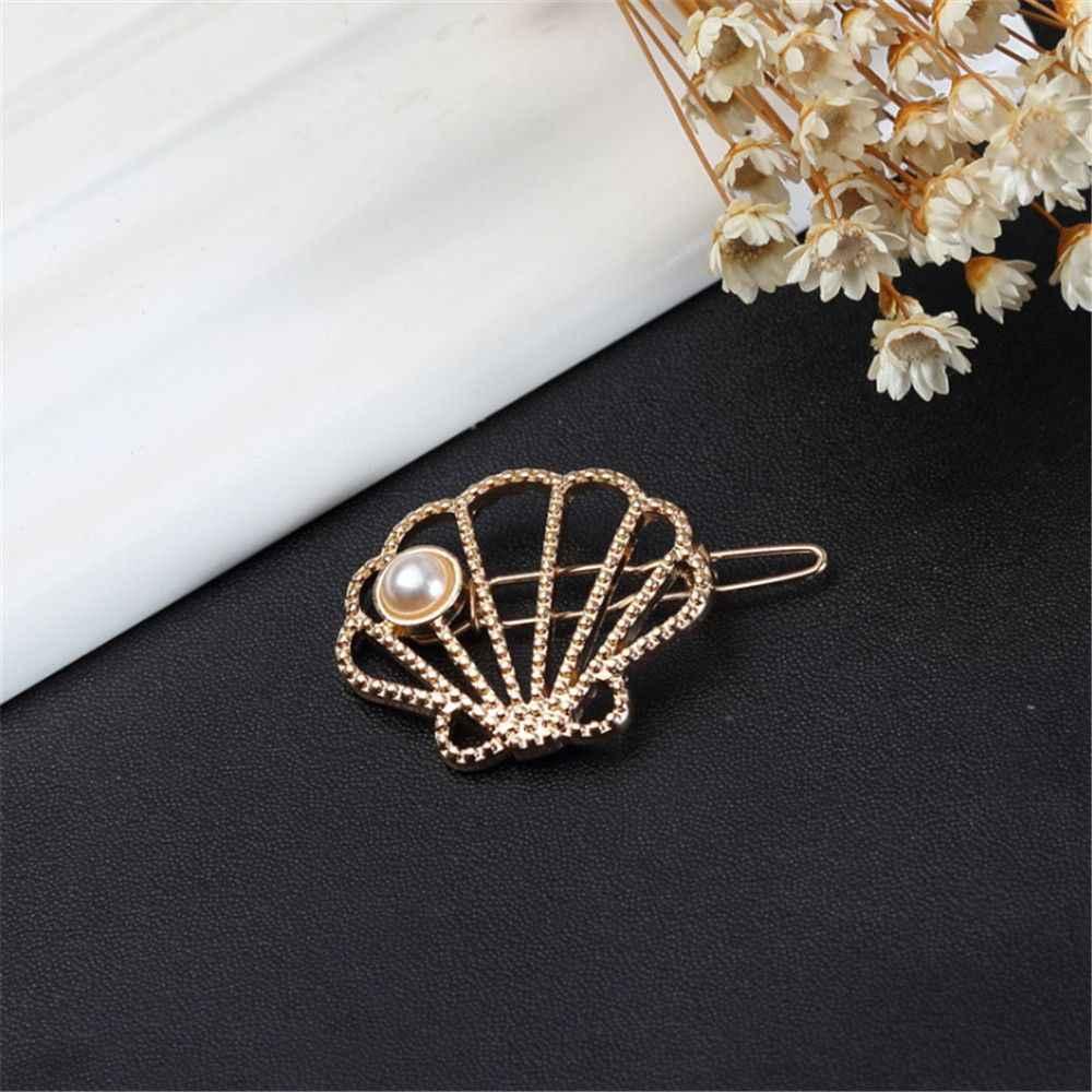 Eenvoudige Haarspeld Haar Clips Claw Voor Vrouwen Legering Holle Parel Shell Hoofdtooi Haaraccessoires Sieraden Hairclip Accessoires Gift