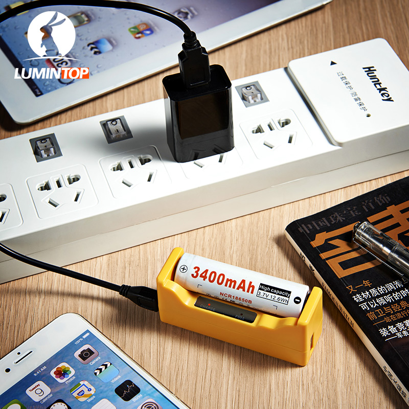 LC1 LUMINTOP Inteligente USB Recargable + 1x3400 mAh 18650 Linterna Multifunción