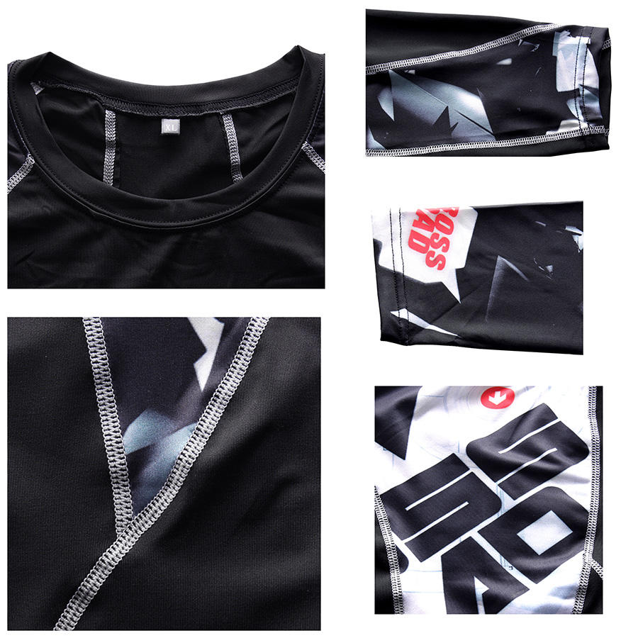 MMA Compression Sport Suit Men Sportswear Tracksuit Short Sleeve Running T Shirt Running Shorts Suits Jogging Sets Fitness Suit 6