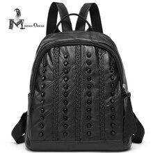 Натуральная кожа рюкзак женщины маленький черный кожа овчины рюкзак для женщин панк заклепки мешок женщин стильный рюкзак