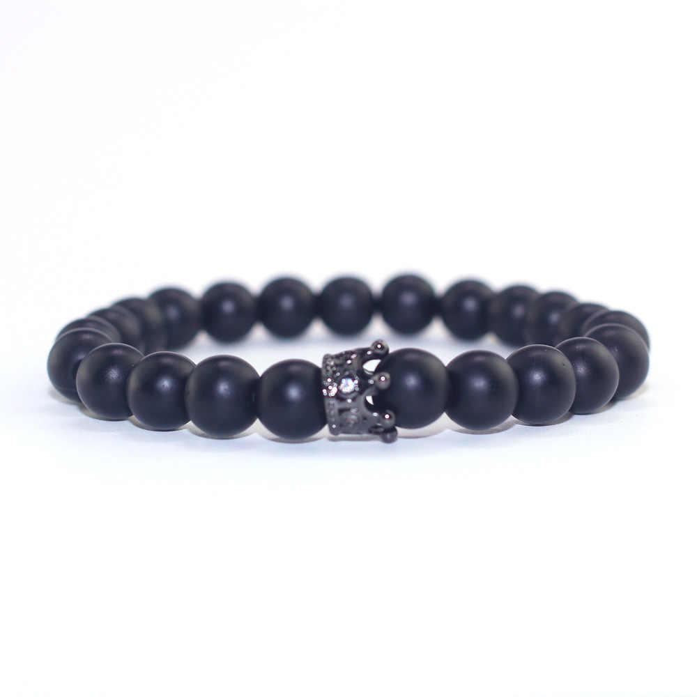 2 шт./компл. пары расстояние браслет классический натуральный камень белый и черный Корона из бисера браслеты для мужчин женщин Best друг