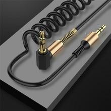 3.5mm שקע אודיו כבל 3.5 לזכר זכר אביב Aux כבל עבור iPhone Samsung galaxy רכב אוזניות Xiaomi aux קוד