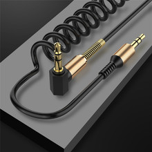 Cabo de áudio 3.5mm macho para macho, cabo auxiliar de mola para carro iphone, samsung galaxy fone de ouvido xiaomi código aux,