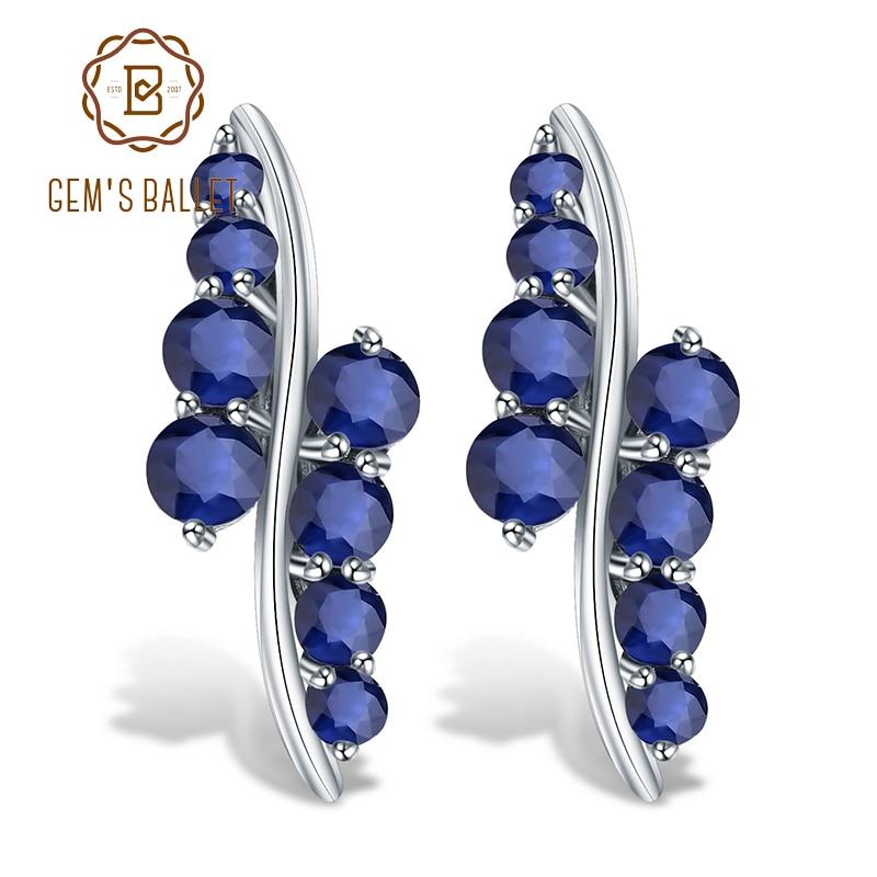 GEM S BALLET 925 Sterling Silver Studs Earrings 3 0Ct Natural Blue Sapphire Gemstone Engagement Earrings