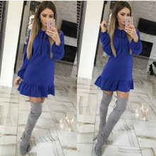 Women Casual Bow Bandage Party Dress Ladies Sexy Long Sleeve Bow A-line Dresses 2018 Winter Fashion Woman Vintage Mini Dress