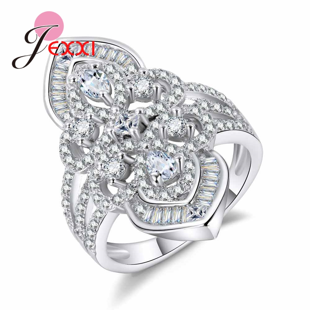 JEXXI 20171021 Luxurious Design Shiny Rhinestone Noble princess 925 Sterling Silver Finger rings For Wedding & Party Gift