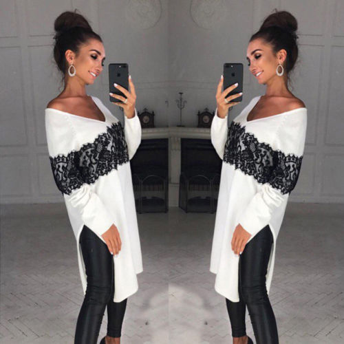 Hot Retro 2019 Fashion Women V Neck Loose Oversize Hoodie Sweatshirt Jumper Lace Shirt Asymmetric Pullover Tops Plus Size