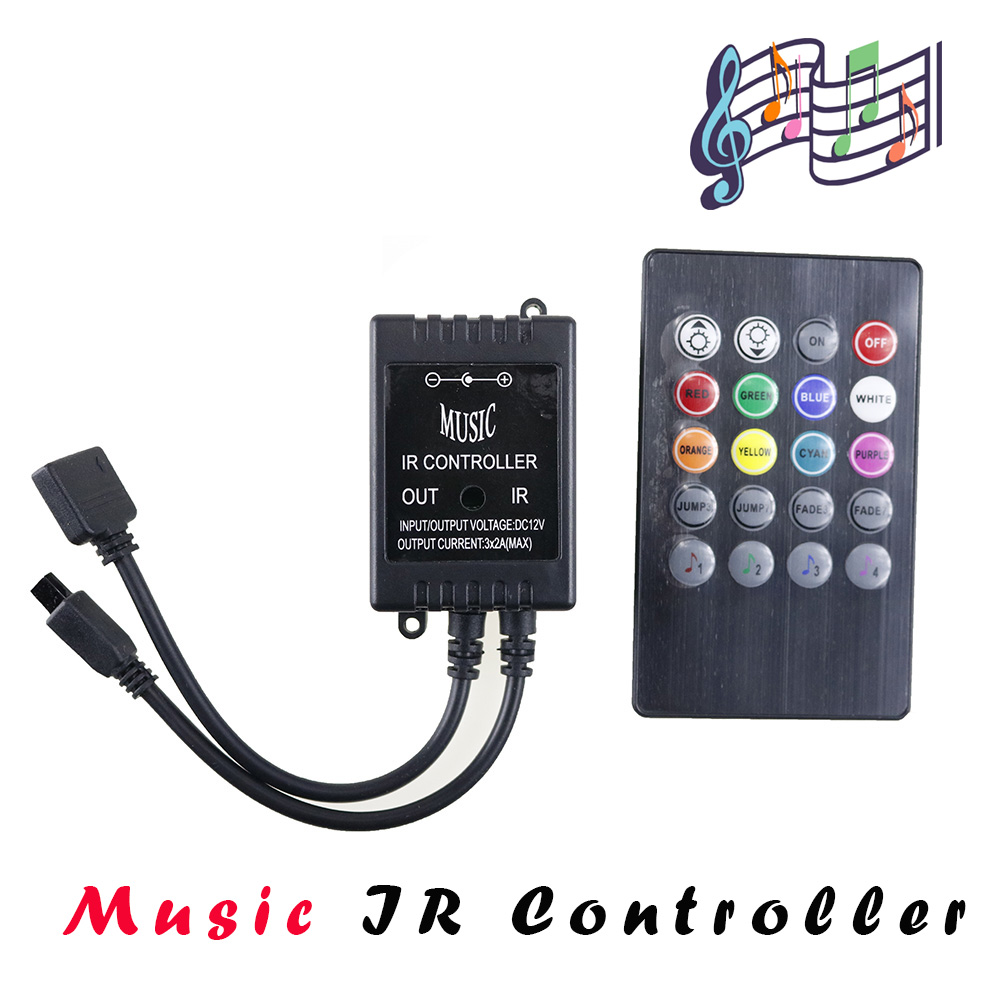 LED Music Voice Sensor IR Controller DC12V 6A 20 Keys IR Remote Controllers for 3528 5050 RGB LED Strip Lights for Home Party