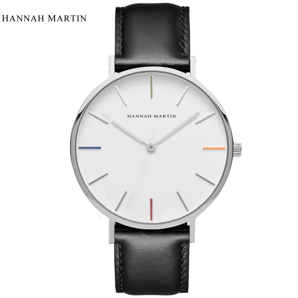 Hannah Martin Men's Watches Top Brand Luxury Watch Fashion Men's Watch Men Watch Leather Clock Relogio Masculino Reloj Hombre