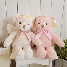 Free shipping 45cm lovely angel teddy bear with wing font b plush b font toys font