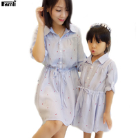Famli 1pc Matching Mother Daughter Dress Spring Fall Fashion Family Mommy Me Baby Outfit Dresses Mom