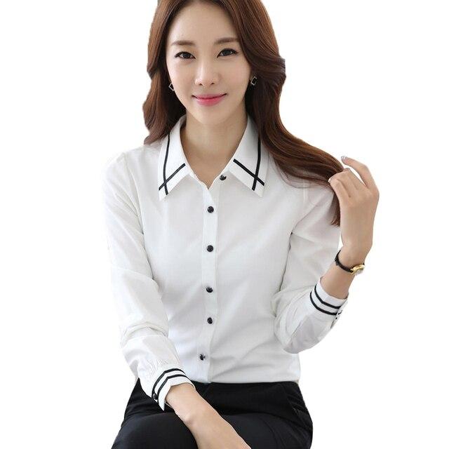 De chica chifón camisas blancas Oficina Blusas para mujer