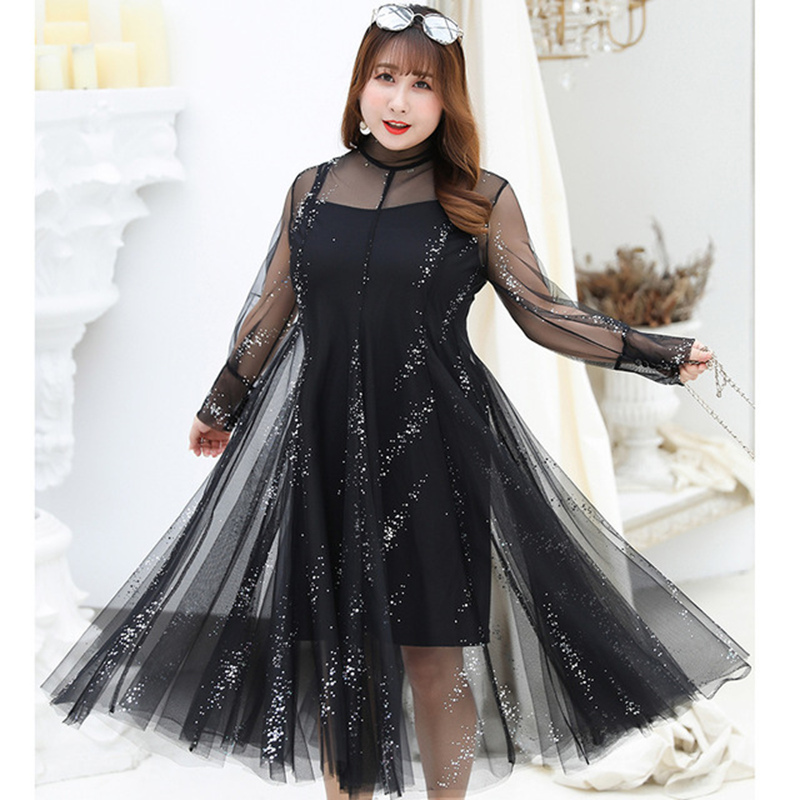 2019 New arrival sexy mesh dresses women fashion long sleeve female transparent two piece set dress plus size 4xl high quality in Dresses from Women 39 s Clothing