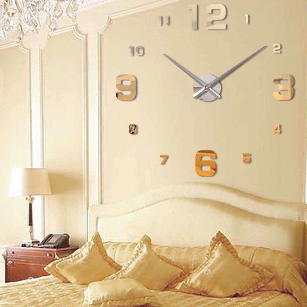 Golden Fashion 3D Big Size Wall Clock Mirror Surface Stickers DIY ...