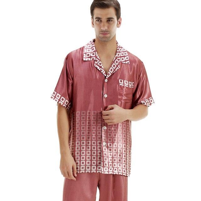 Мужские пижамы установить мужские Roupas Masculinas Высокое качество сатинировки пижамы домашняя одежда лето / осень с коротким рукавами длинные брюки