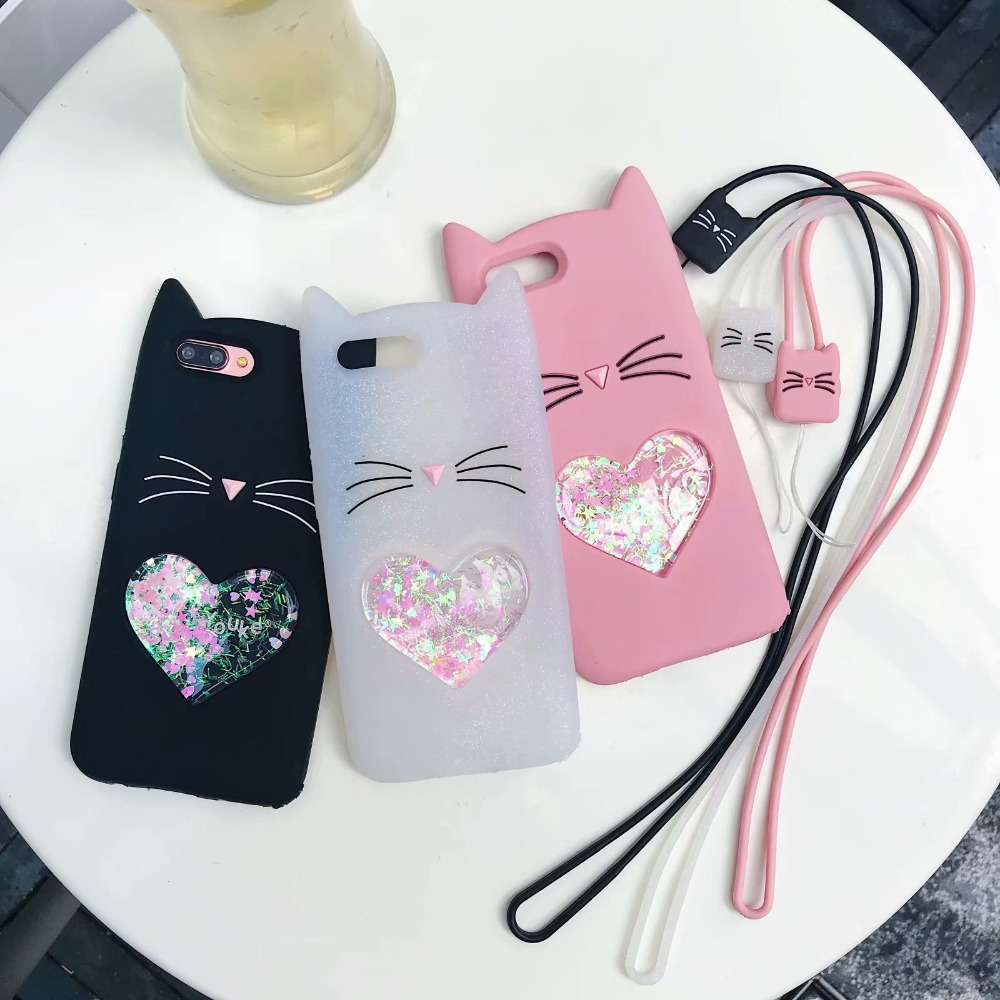 3D Glitter Cute Cat Rubber Case For OPPO A77 Soft Silicon Cartoon Cover For Oppo F3 With Lanyard