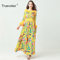 Truevoker Designer Summer Long Dress Women High Quality Flare Sleeve Ruffle Multicolor Floral Bird Printed Maxi
