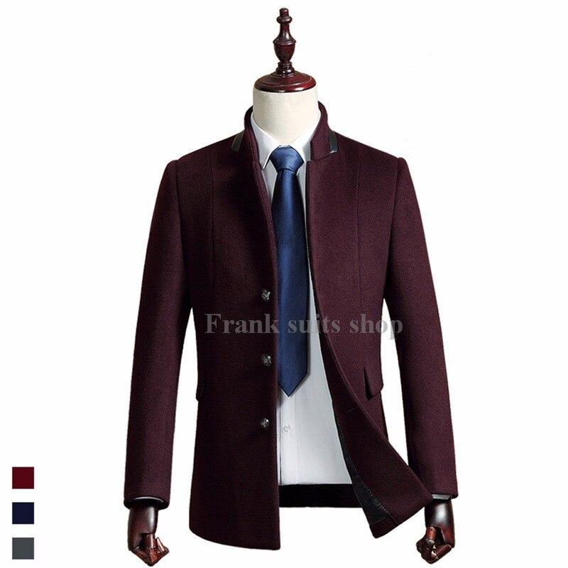 2017 Nach Maß Neue Ankunft Mode Britischen Stil Feste Wollmantel Männer Winter Warme Mantel Kammgarn Casual Wolle Jacke