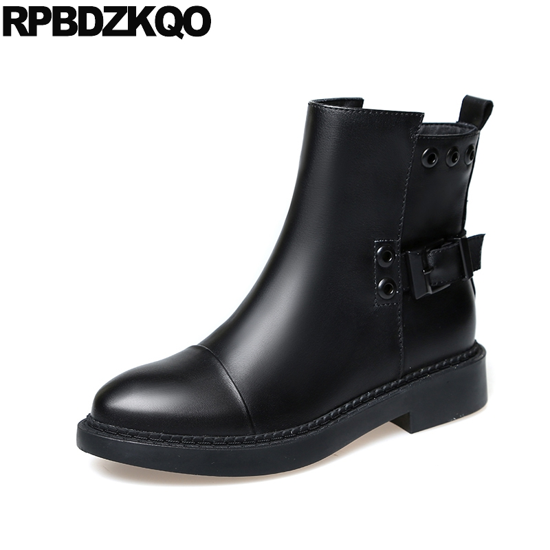 Black Booties Fall Metal Women Ankle Boots 2016 Round Toe British Flat Shoes Winter Fur 2017 Female New Fashion Chinese Short short boots woman the fall of 2017 a new restoring ancient ways british wind thick boots bottom students with martin boots
