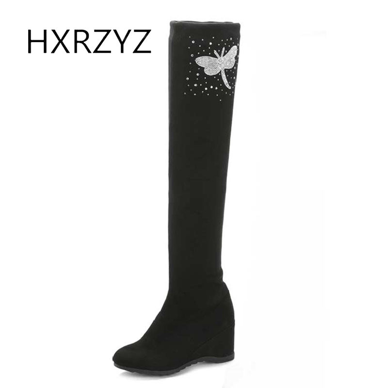 HXRZYZ knee high boots women autumn soft suede boots new fashion female cotton high-heeled over-the-knee women warm winter shoes цены онлайн