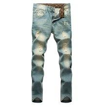 Лидер продаж 2016 года модные и Повседневное Для Мужчин's Джинсы для женщин отверстие Рваные джинсы Для мужчин хип-хоп Брюки для девочек Прямые джинсы для Для мужчин деним Мотобрюки