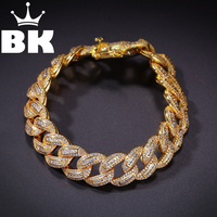 Hip Hop King 15mm Zircon bracelet for Healing Bandages Iced Out Micro Pave Hip hop Fashion Punk Chain Bling Bling Charms Jewelry