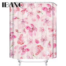 Flowers Customized Shower Curtain Waterproof Polyester Fabric Floral Shower Curtain For Bathroom With 12 Hooks Cortinas thicken waterproof shower curtain with hooks