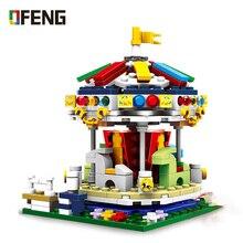 цена XB01107 City Amusement Park Building Block Colorful World Carrousel Merry-go-round Bricks Educational DIY Toys gift for Children онлайн в 2017 году
