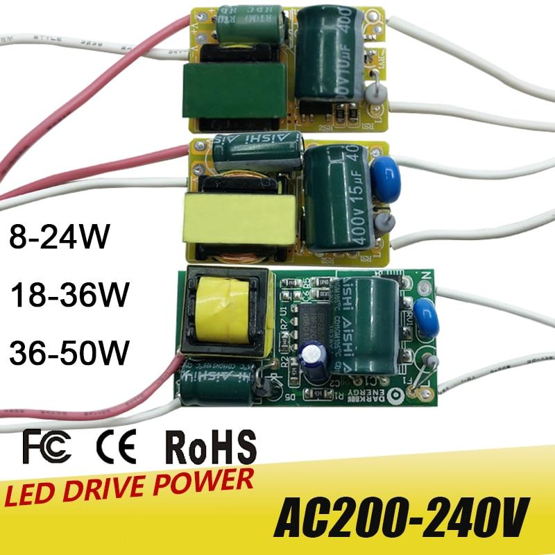 Светодиодный светильник-драйвер 8-50 Вт, трансформатор, вход, блок питания, 280mA-300mA, светодиодный светильник, лампа, чип