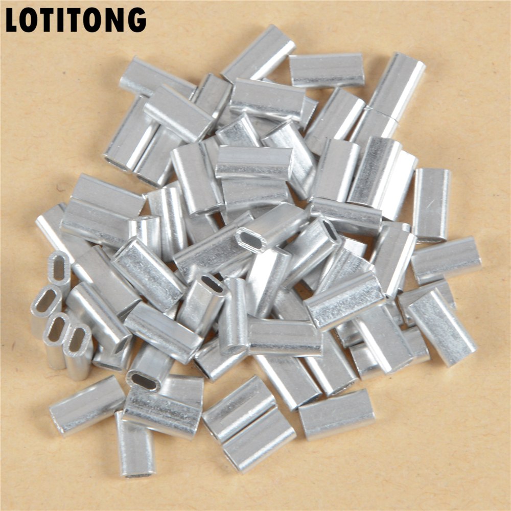 LOTITONG 100pcs/lot 1.0mm-2.0mm Oval Aluminum Tube Fishing Line Crimping Sleeves Tube Connector Durable Fishing Wire Tube flat