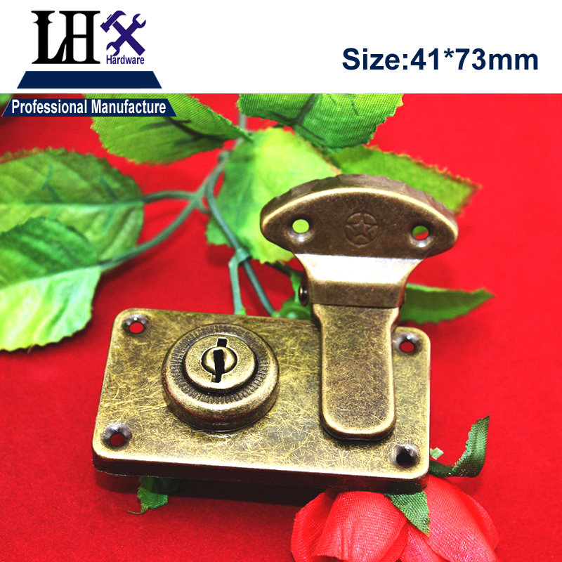 LHX 2pcs/lot Bronze Hasp Lock for Jewelry Gift Box Wood Case Cabinet Furniture Hardware Decorative Protector DIY i