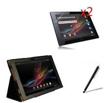 4en1 folio del cuero del soporte magnético de lujo case cover + 2x pantalla protector + stylus para sony xperia tablet z sgp311 sgp312 SGP321