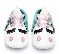 Unique Style Genuine Leather Newborn Baby Moccasins Christmas Gifts Toddler Party Shoes Blush Golden Angle Unicorn